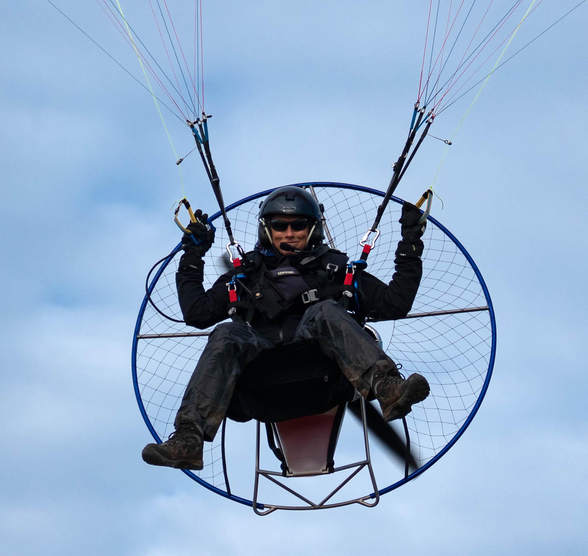 Maren Flying her Parajet